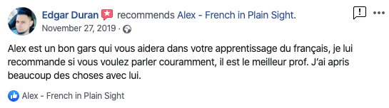 """""""Alex est un bon gars qui vous aidera dans votre apprentissage du français, je lui recommande si vous voulez parler couramment, il est le meilleur prof. J'ai apris beaucoup des choses avec lui."""" - Edgar Duran"""